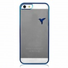 Simple Laser Carving Bird Style Protective Plastic Back Case for Iphone 5 - Transparent + Blue