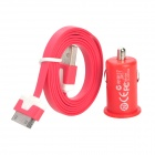 Car Charger + USB Data / Charging Flat Cable for iPhone 4S / iPhone 4 / iPhone 3GS - Red