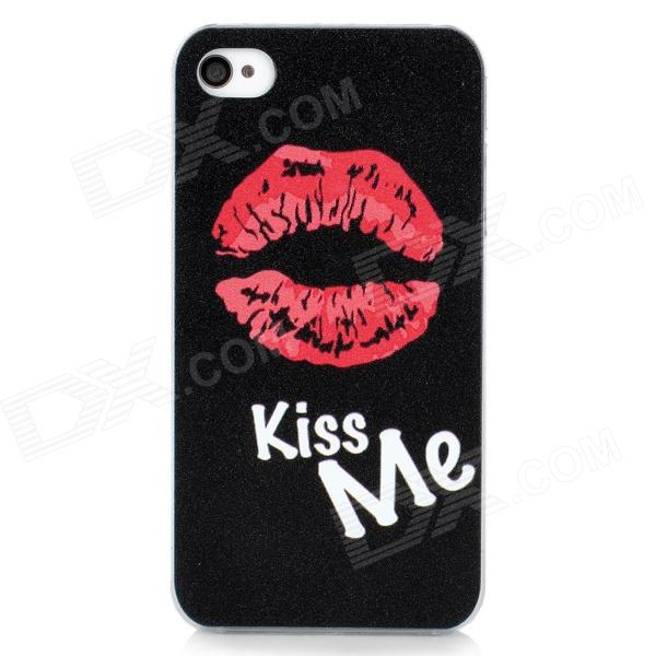 Fashion Sexy Lip Pattern Protective Back Case for Iphone 4 / 4S - Black + Red + White
