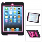 Stylish Anti-Shock Protective Dual-Color Case w/ Stand for iPad Mini - Black + Purple