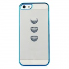 Protective Basket Pattern Back Case for iPhone 5 - Transparent + Blue