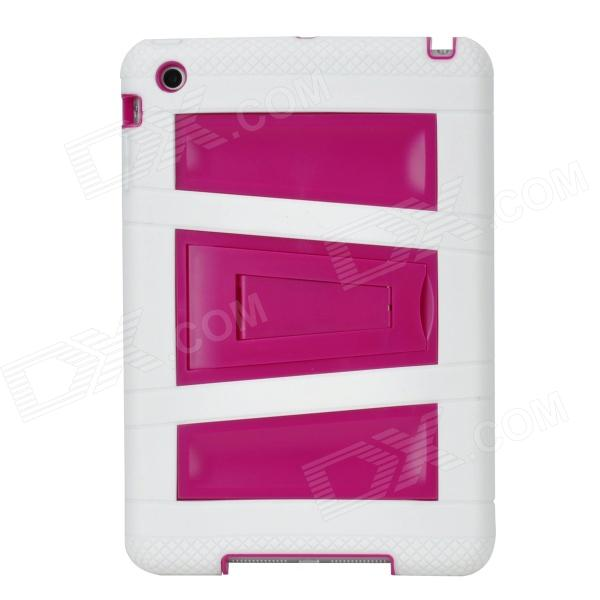 Stylish Anti-Shock Protective Dual-Color Case w/ Stand for Ipad MINI - White + Deep Pink