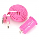 N10117 Car Charger w/ USB 2.0 Male to 30-Pin Male Flat Cable for iPhone 3GS / 4 / 4S - Pink (DC 12V)