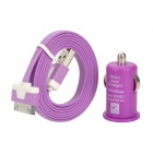 Car Charger + USB Data / Laden Flachbandkabel für iPhone 4S / iPhone 4 / iPhone 3GS - Purple