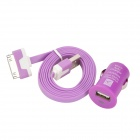 Car Charger + USB Data / Charging Flat Cable for iPhone 4S / iPhone 4 / iPhone 3GS - Purple