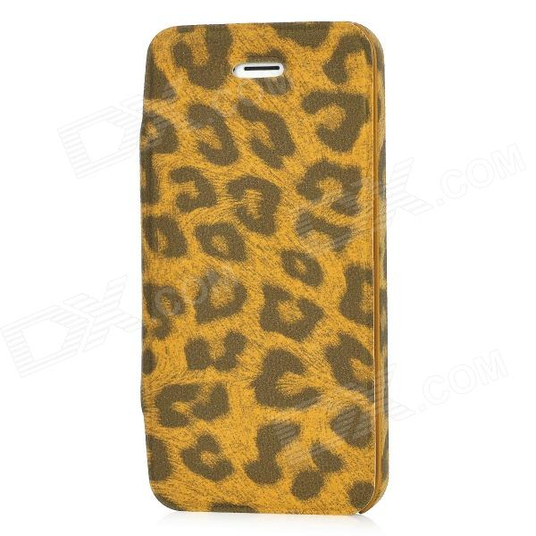 Protective Flip-Open PU Leather Case for Iphone 5 - Yellow Leopard
