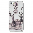 Europe Style Pattern Protective Frosted Back Case for iPhone 5 - White + Black