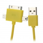 B-198 1-to-3 USB to Mini / Micro Male Charging Cable for iPhone / Nokia / BlackBerry + More - Yellow