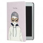 3D Boy Style Protective PU Leather Case for iPad Mini - Light Purple + Black + White