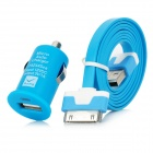 30 Pin Male to USB Male Data / Charging Flat Cable + Car Charger Set for iPhone 4S + More - Blue