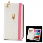 Rock Protective PU Leather Flip-Open Case w/ Dustproof Plug for Samsung N7100 / N7108 - White + Pink