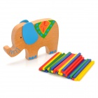Wooden Brain Teaser Elephant & Bamboo Sticks Toy - Red + Yellow + Blue + Green