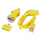 30 Pin Male to USB Male Data Cable + Car Charger + 8 Pin Lightning Adapter Set for iPhone - Yellow
