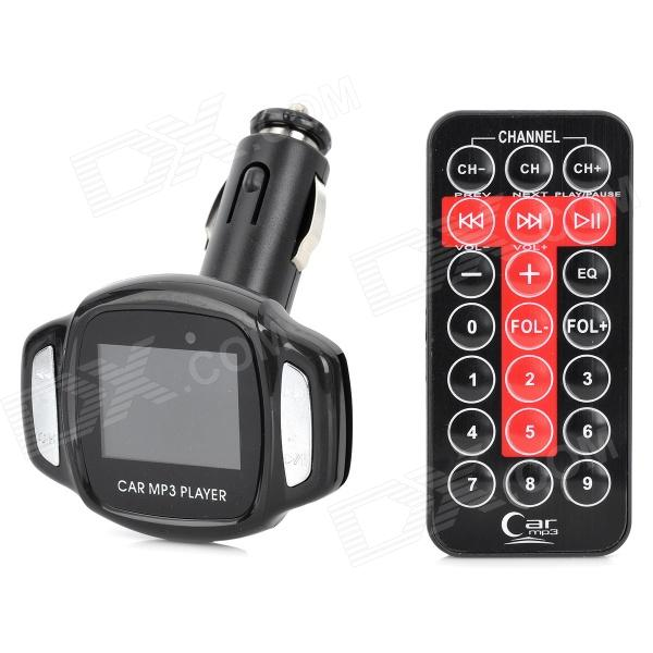 1.44 LCD Car MP3 Player FM Transmitter w/ USB Port / SD / TF Slot / Remote Controller - Black
