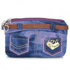 Creative Jeans Dual-Zipper DIY Coin Purse Pouch - Purple (14 x 9.5 x 1cm)