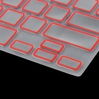 Protective Silicone Keyboard Cover Skin Protector Guard for MacBook Pro - Transparent + Red