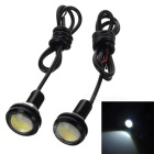 3W 210lm LED Eagle Eyes White Light Car Backup / Daytime Running Light - (12V / Pair / 46cm-Cable)
