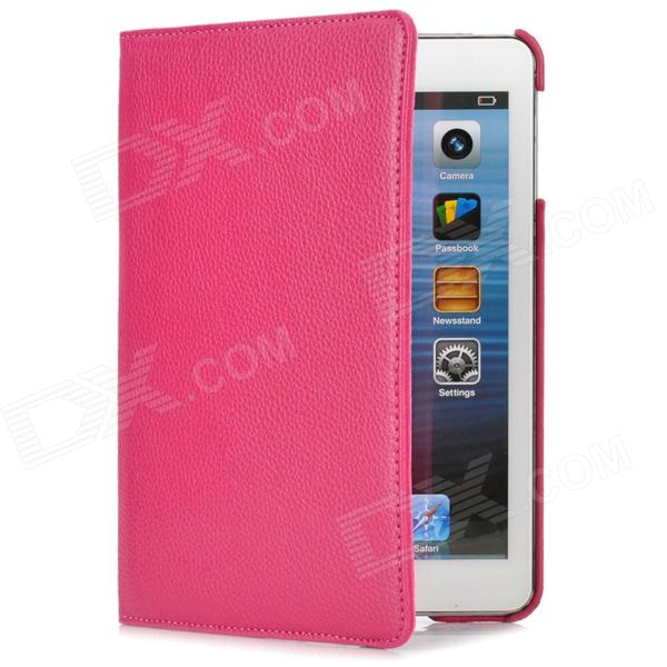 Lychee Pattern Protective Swivel 360 Degree Rotating PU Leather Case for Ipad MINI - Deep Pink momax x lens 4 in 1 120 degree wide angle 15x macro lens 180 degree fisheye cpl filter for smartphone tablet silver