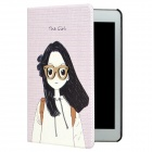 3D Girl Style Protective PU Leather Case for iPad Mini - Light Purple + Black