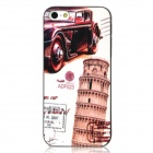 Leaning Tower of Pisa Style Protective Plastic Back Case for Iphone 5 - Black + White