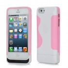 2200mAh Rechargeable External Power Bank Charger w/ USB Cable for iPhone 5 - White + Pink