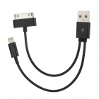 Lightning 8-Pin + 30-Pin to USB Data Charging Cable for iPhone 4 / 4S / 5 + More - Black