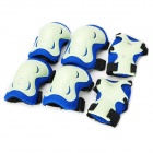 Kid's Glow-in-the-Dark Skateboarding Skiing Knee + Elbow + Hand Guard Pad Set - Blue