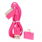30-Pin Female to 8-Pin Lightning Male Adapter + USB Data / Charging Cable for iPhone 5 - Deep Pink