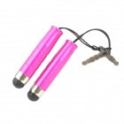 Capacitive Touch Screen Stylus Pen w/ 3.5mm Anti-Dust Plug for Iphone / Ipad - Deep Pink (2 PCS)