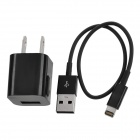 2-Flat-Pin Plug Power Adapter w/ 8 Pin Lightning Charging Cable for iPhone 5 / iPod Nano 7 - Black