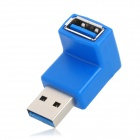 90 Degree Angle USB 3.0 Male to Female Adapter - Blue