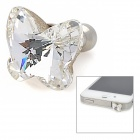 Elegant Rhinestone Butterfly Style Anti-Dust Plug for 3.5mm Audio Jack - Transparent White + Silver