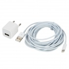 EU Plug Power Adapter + 8 Pin Lightning Male to USB Male Cable Set for iPhone 5 + More - White