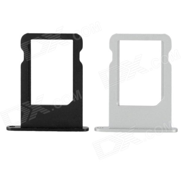 Replacement Aluminum Alloy Nano SIM Card Tray for Iphone 5 - Black + Silver (2 PCS) hzdz q 5 bicycle aluminum alloy gasket washer silver black blue red golden 5 pcs