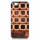 Retro Checked Style Protective Plastic Back Case for iPhone 5 - Brown + Black + Golden