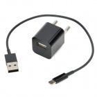 AC Power Adapter + Lightning 8 Pin Male to USB Male Cable for iPhone 5 - Black (EU Plug)