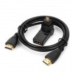 HDMI 1.4 Male to Male Extension Cable w/ Rotatable HDMI Female to Micro HDMI Male Adapter - Black