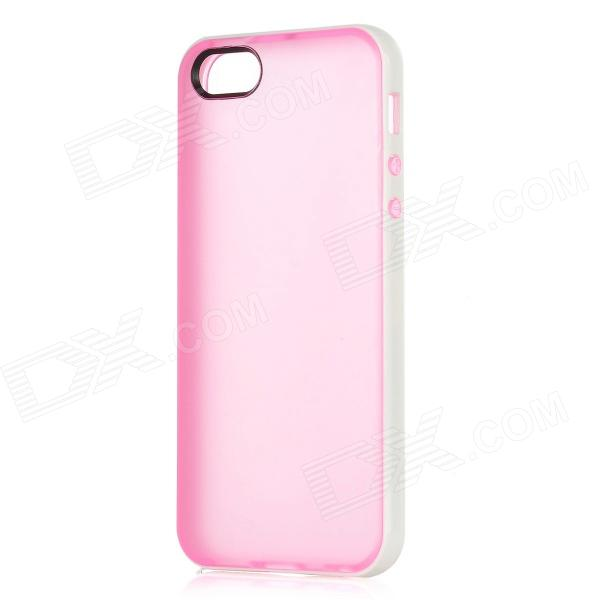 Protective PVC Plastic Case for Iphone 5 - White + Pink ipega i5056 waterproof protective case for iphone 5 5s 5c pink