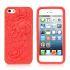 Cool Relief Rose Style Protective Soft Silicone Back Case for iPhone 5 - Red