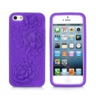 3D Rose Pattern Protective Silicone Back Case for iPhone 5 - Purple