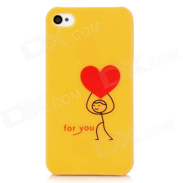Love Boy Pattern Protective Back Case for Iphone 4 / 4S - Yellow