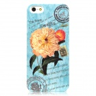 Glow-in-the-Dark Flower Stamps Pattern Protective Plastic Back Case for iPhone 5 - Light Blue