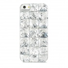 Square Resin Rhinestone Pattern Protective Plastic Back Case for Iphone 5 - Silver