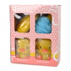 GJ905 Cute Duck Toothbrush Toothpaste + Soapbox + Liquid Bottle + Bathing Ball Set - Yellow