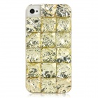 Resin Imitation Diamond Checked Pattern Protective Case for iPhone 4 / iPhone 4S - Golden Yellow