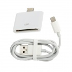 8-PIN Male to USB Male Cable + 8 Pin Lightning Adapter Set for iPhone 5 - White