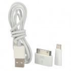 3-in-1 Micro USB to 8Pin Lightning / 30Pin Adapter + Micro USB Cable for iPhone 5 / 4 / 4S - White