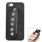 Protective PC Back Case w/ Stainless Steel Skull Rivet PU Leather Wrist Band for Iphone 5 - Black