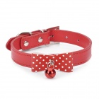 Cute Bowknot Style Pet Collar w/ Bell for Small Medium Dog Cat - Red