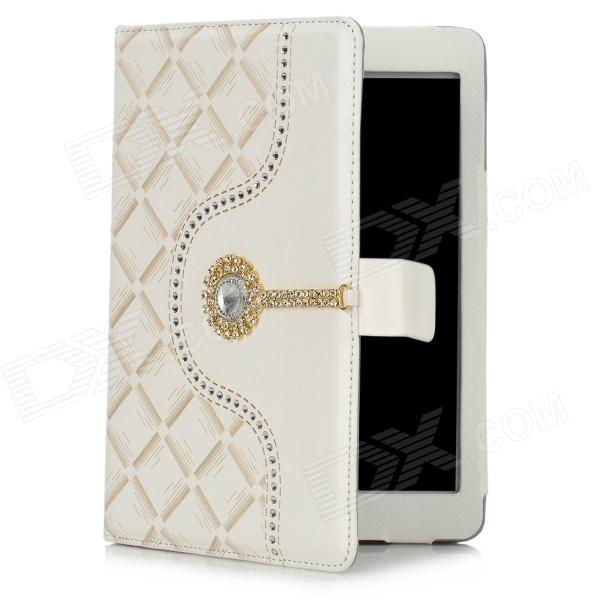 Protective PU Leather Case for Ipad MINI w/ Crystalfor Ipad MINI - White + Beige for ipad mini